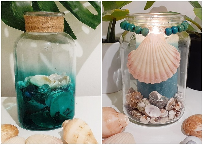 crafts with glass, glass jars, crafts, glass jars, beachy, DIY, make your own, shells, beads, candles, australia, gifts, cheap,