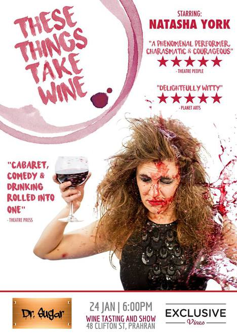 dr sugar, wine tasting, exclusive vines, natasha york, these things take wine, comedy, comedian, cabaret show, comedy show, entertainment, night life, bar.