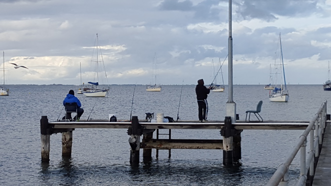 Fishermen, well set up on Griffin Gully Pier