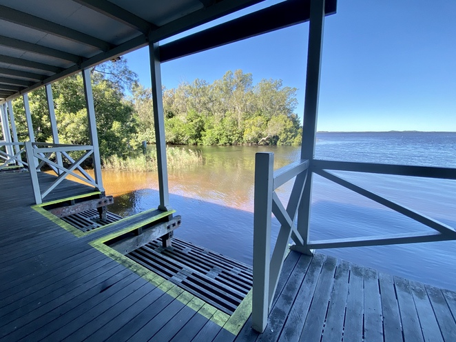The Kinaba Visitor Information Centre sits on stilts above Lake Cootharaba to allow access by boat or by foot