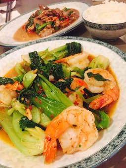 King prawns and asian vegetables @Tia To #BED