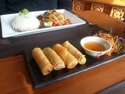 Lai Thai Restaurant, spring rolls with basil and chilli stir-fry