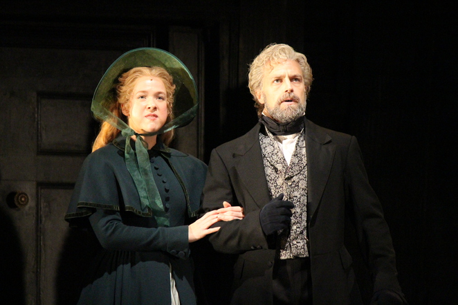 Les Miserables' Cosette and Jean Valjean played by Emily Langridge and Simon Gleeson (photo by Adrian Kmita)