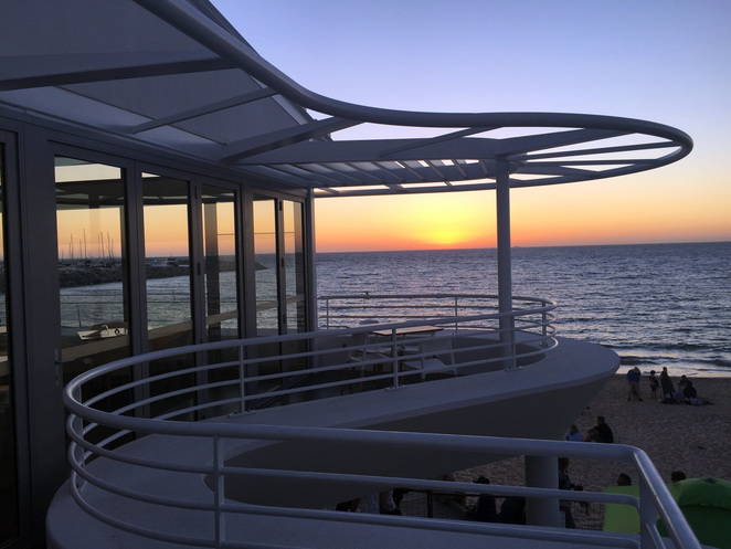 licensed beach, Bathers Beach House, Fremantle, view, sunset, pub, restaurant, beach dining, sun lounge