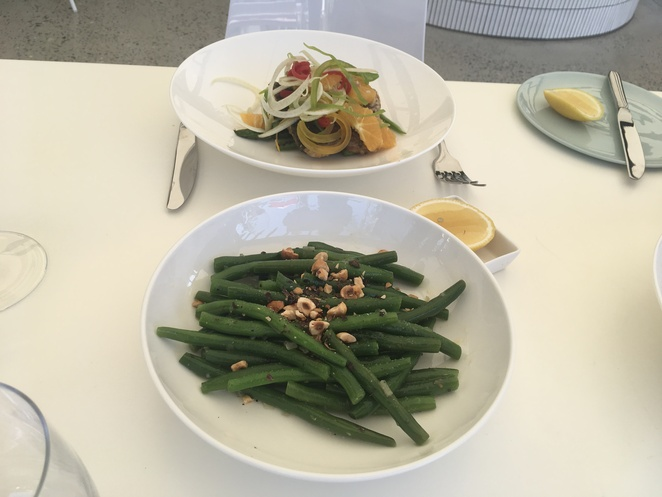 Lunch at the Pasadena Church Point Barrimundi with green beans presented well