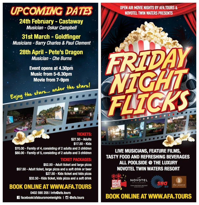 Open Air Movie Nights, Friday night flicks, Afa Tours, Novotel Twin Waters Resort, live musicians, food, beverages, Goldfinger, Sean Connery, Paul B. Clement, Barry Charles, Pete's Dragon, Oskar Campbell, Dosed, Free popcorn, pizza, soft drinks, beer