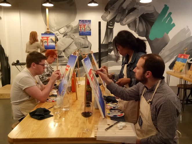 Painting, corkandchrona, sip, drink wine, hens night, birthday dos, Interesting things to do, fun night out, sip and paint, creative night,