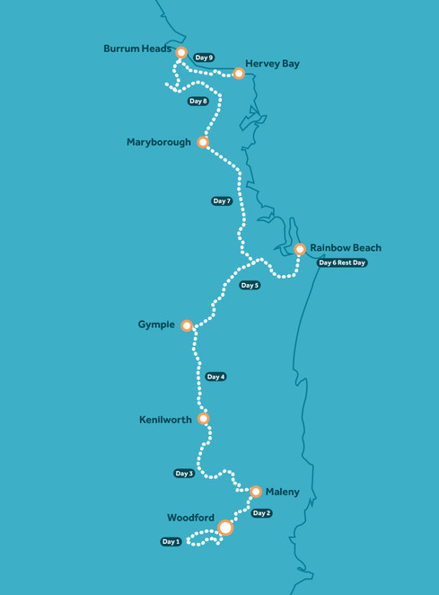 Queensland, cycling, map, route