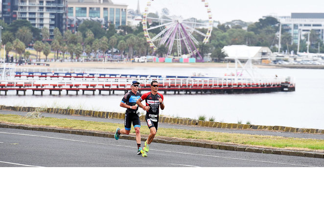 The run in the IRONMAN 70.3 event