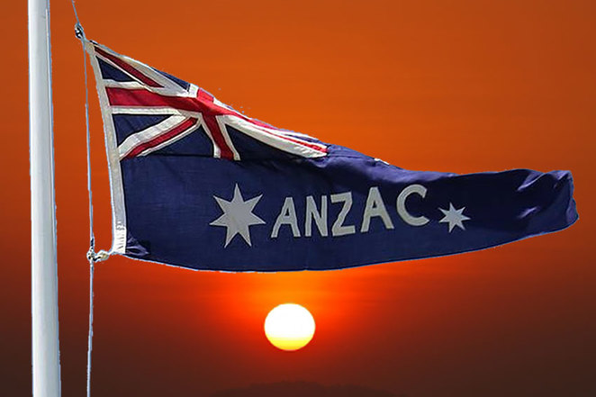 ANZAC Day Sunset Service at ANZAC Cottage 2018. The unique ANZAC flag will be featured on the day. It is speculated that this flag is the only one in existence in Australia.