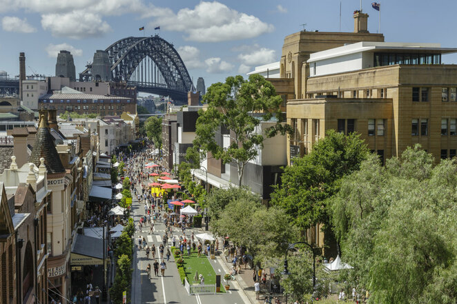 sydney street party 2019, community event, fun things to do, markets, entertainment, the rocks sydney, giant interactive games, roving performers, food trucks, fashion, jewellery, original art, rocks markets, family friendly free entry, australia day celebration