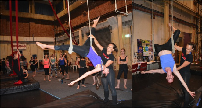 Vulcana, Circus, Women, Acrobat, workshop, class, tissue, trapeze, lyra, rope,