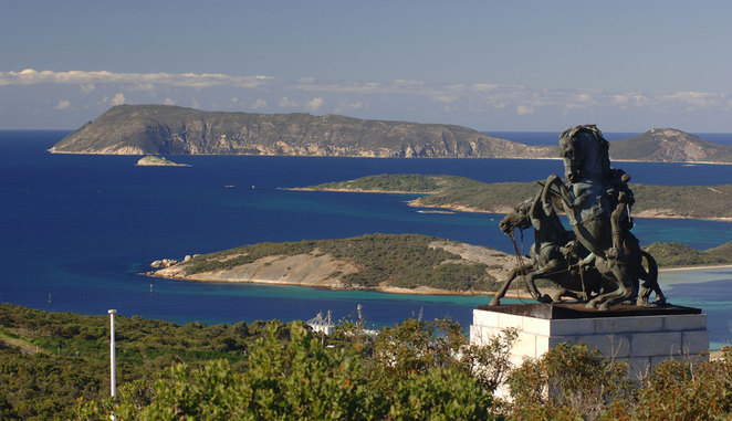 Desert Mounted Corps Memorial statue and view of harbourt Albany Western Australia