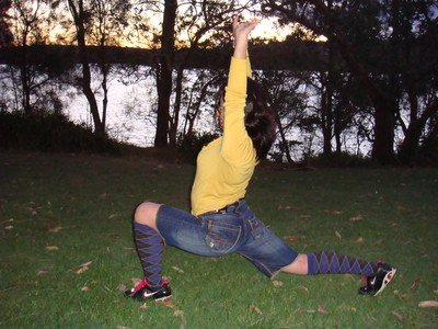 The flat grassy space is perfect for a stretch