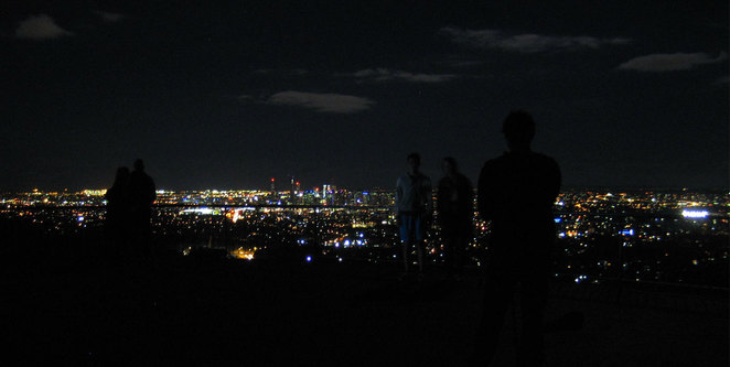 People at the Mt Coot-Tha Lookout at Night