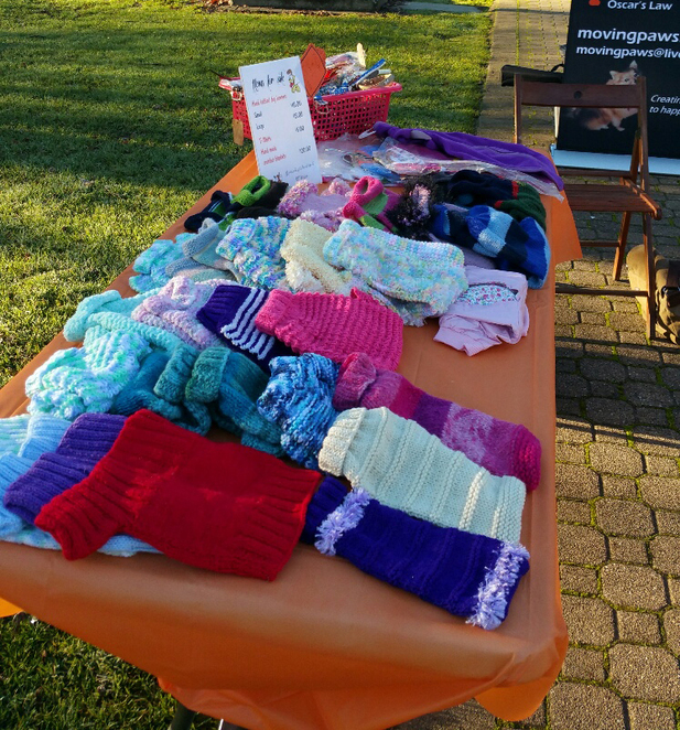 moving paws, adelaide hills farmers market, stall, dogs, cosy jumpers