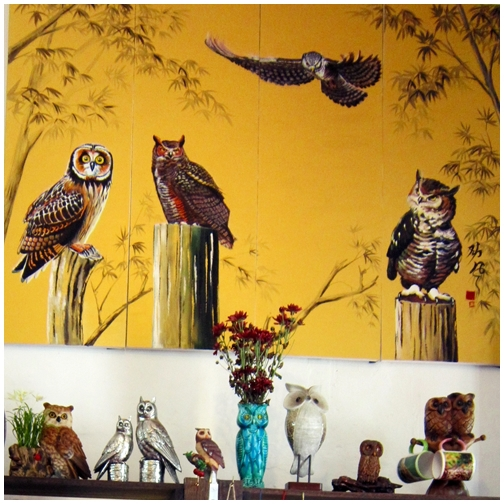 Owl Shop, Penang attractions, georgetown heritage, Lebuh Cannon, Khoo Kongsi, wood carving, owl painting
