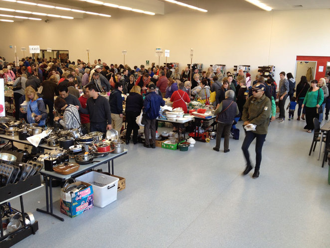 Scroungers Massive March Garage Sale 2017 inside with crowds