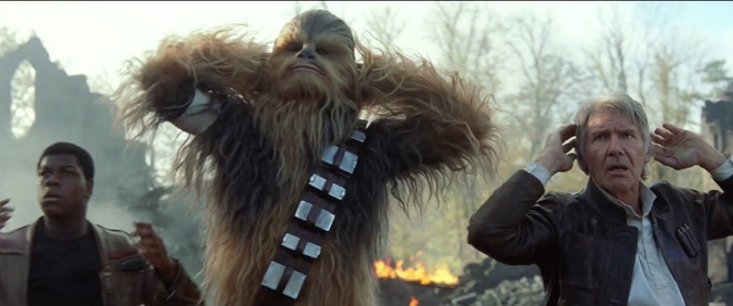 Star Wars The Force Awakens (Star Wars Episode VII) - Finn, Han Solo and Chewbacca