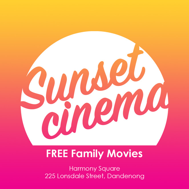 sunset cinema 2018, city of greater dandenong, community event, fun things to do, cinema, outdoor cinema, harmony square, free event, movie buff, fun for kids, family fun, the goonies, the king of kong a fistful of quarters, paper planes, queen of katwe, the bfg, moana, an inconvenient sequel, red dog true blue