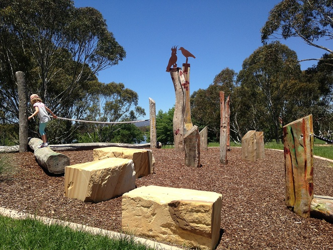 tuggeranong town park, playground, canberra, free, playgrounds in canberra, school holidays, BBQ areas, water, lakes, ACT,nature play, new,
