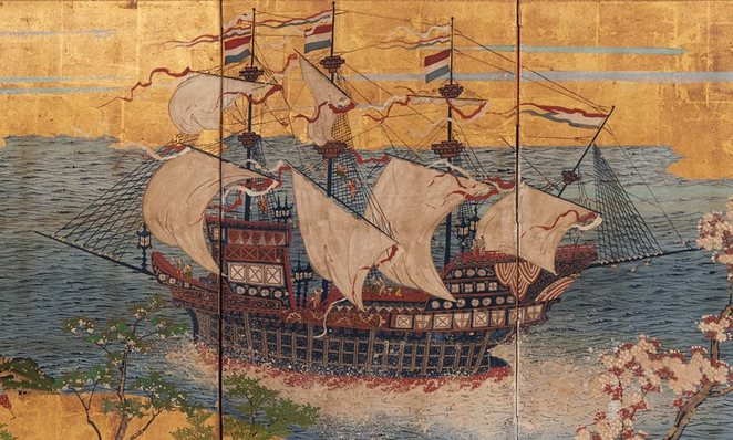 Treasure Ships, Age of Spices Exhibition -Image detail: Japan, Dutch trading ship in Japanese waters, c.1870, four-panel screen, opaque watercolour, ink and gold on paper, 67.5 x 138.0 x 11.0 cm; Kerry Stokes Collection, Perth. Image Art Gallery of SA Facebook page