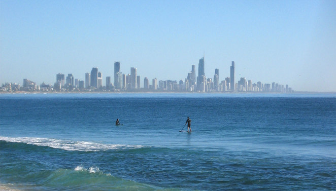 Standup paddle boarders at Burleigh Heads