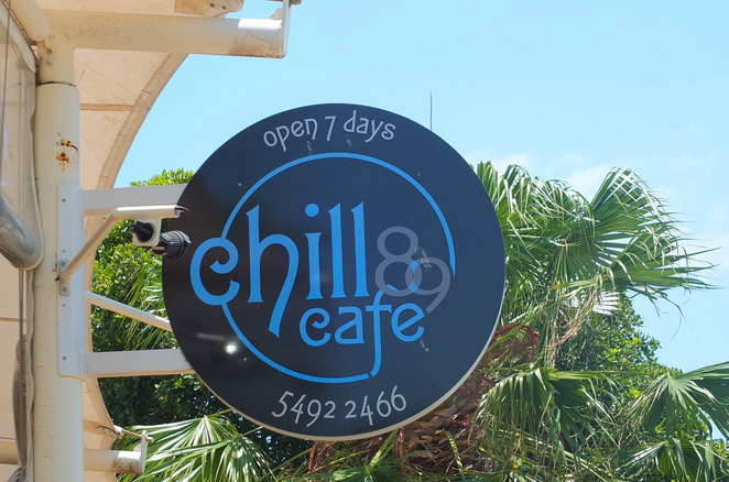 Chill Cafe 89, Golden Beach, Caloundra, cafe on the esplanade, breakfast, lunch, drinks, Genovese coffee, long lunch Sundays, live music, private celebrations, reasonably priced, best viewing location for fireworks in Caloundra