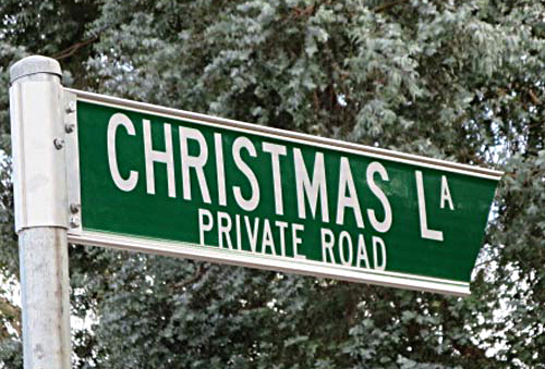 Christmas, Lane, Lights, Display, 2018, Lobethal, road, sign