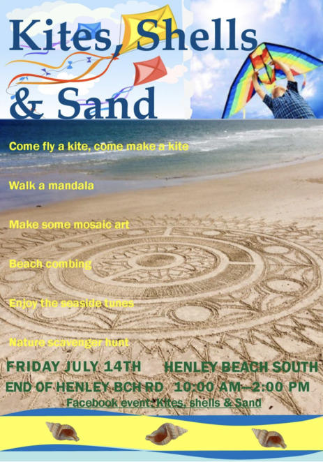 Free school holiday activity, Kites, Shells & Sand event, Henley Beach