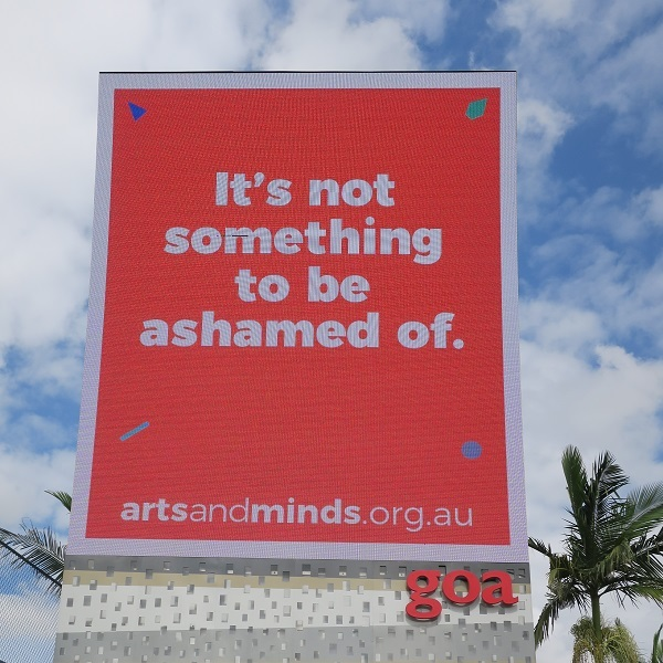 may cross, arts and minds, anglicare, art, mental health, goa, billboards