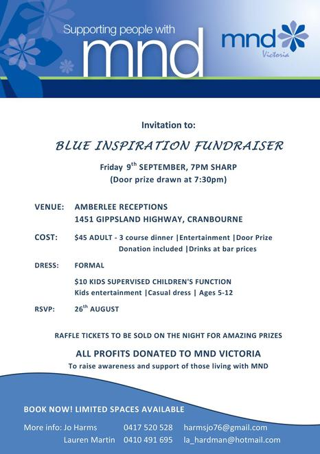 MND Victoria, blue inspiration fundraiser, charity, amberlee receptions, door prizes, entertainment, donations, raffles, community event, fun things to do, family friendly