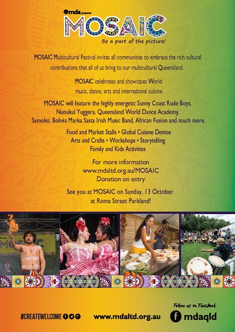 mosaic festival 2019, commuity event, fun things to do, free cultural event, roma street parkland brisbane, dance, music, spoken word, visual arts and crafts, family friendly, activities, entertainment, cooking demonstrations, market, live performances, suncorp, queensland government, brisbane city council