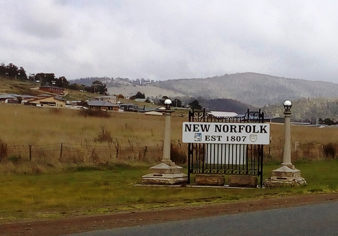 New Norfolk, Tasmania, old sign, historic town,