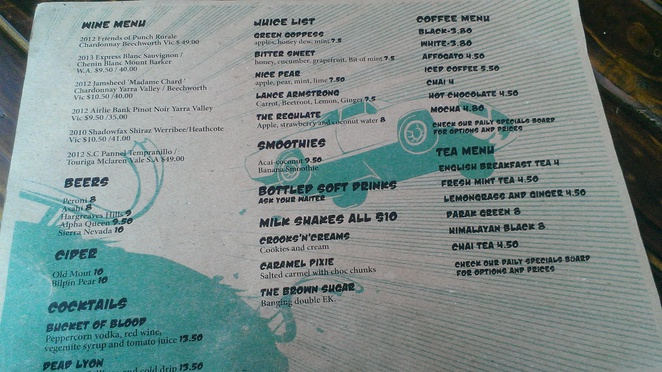 Stagger Lee's Menu Back