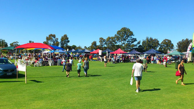 Willetton Rotary Community Fair 2018, wide view of stalls