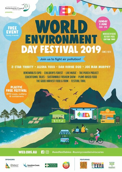 World Environment Day Festival 2019, FREE event, 'join us to fight air pollution', entertainment, children's activities, farm expo, renewables village, arts and crafts, sustainable fashion, innovative displays, workshops, community groups, Festival Trail, Good Harvest Food & Farm Expo, Mick Dan, organic growers, Children's Forest, food and beverages, ethical, sustainable, fresh, wholesome, sustainable stalls, speakers, volunteers still needed, Sunday 2 June, Cotton Tree