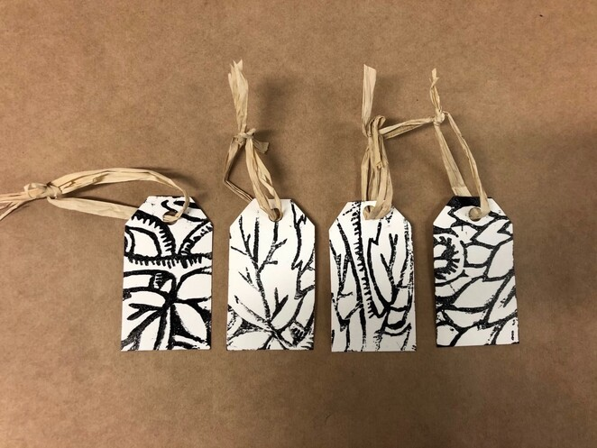 Lino tags and cards workshop