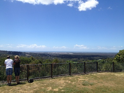 A couple take a moment to look out over the Sunshine Coast from Buderim Lions Park