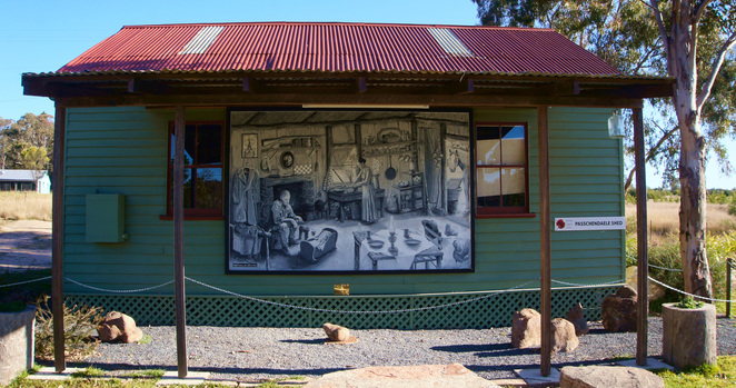 Events are held in the Passchendaele Shed which also has a mural depicting early settler life