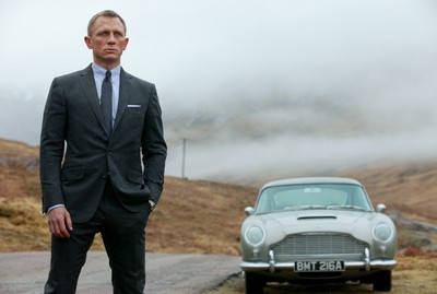 Daniel Craig as 007 along with the famous Aston Martin DB5