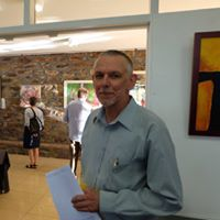 Curator Dieter Engler at the Art Exhibition opening