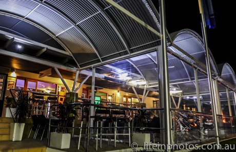 See the gorgeous night lighting on entry to Riviera Yacht Club, Waterfront Dining, Coomera River,