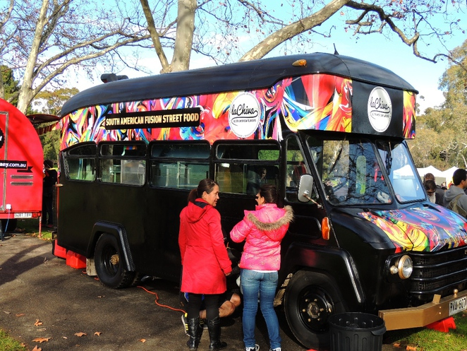 food truck, fork on the road, la chiva, in adelaide, welcome to australia, street food, south american, burger, the bus