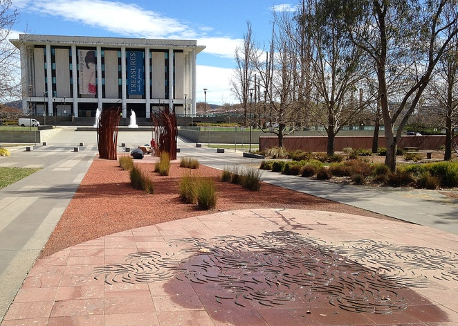 reconciliation place, canberra, indigenous, aboriginal, sculptures, national library, high court of australia, public art, stolen generation, bogong moths, indigenous artists, fire and sound,