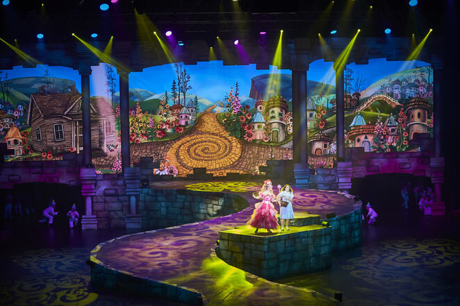Set and lighting design, colourful