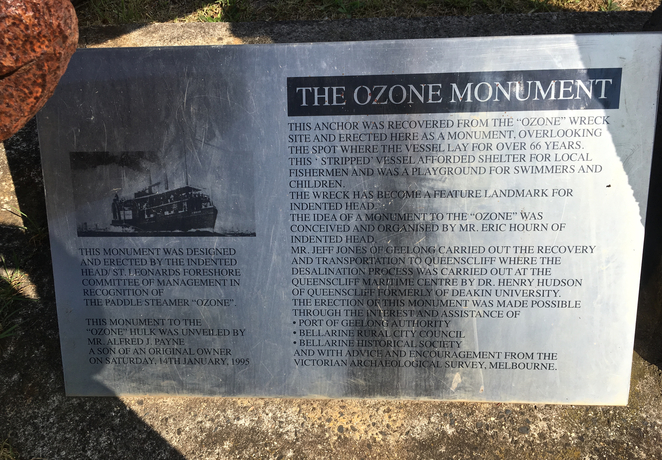 Taylor Reserve, Indented Head, Ozone, Shipwreck, camping, picnic spots, bellarine, geelong, playground, ozone monument, paddle steamer, plaque,