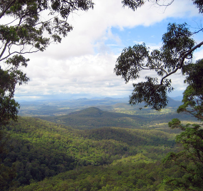 The view down the mountain from the Teviot Falls Lookout