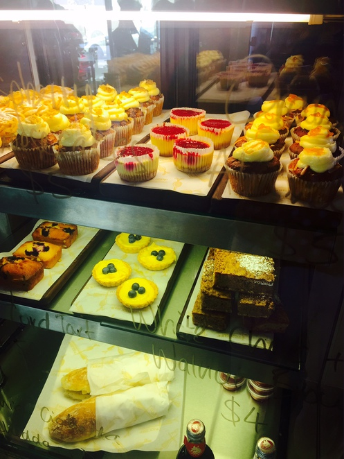 Tuck shop cafe, cake display