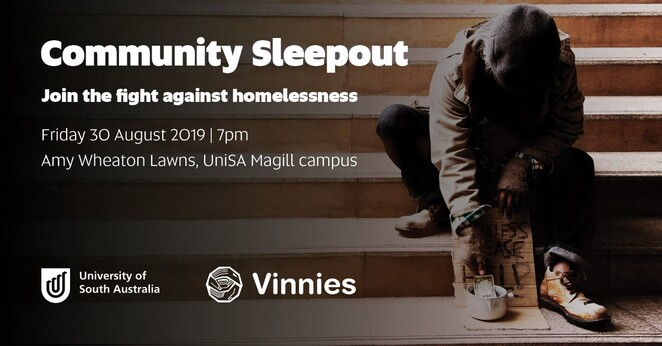 unisa community sleepout 2019, community event, flight homelessness, amy wheaton lawns, unisa magill campus, university of south australia, unisa volunteering and community engagement, local hero, vinnies sa's homeless services, assist homeless people, charity, fundraiser, donations, positive impact on homelessness, prizes, sustenance